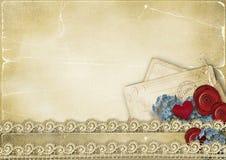 Romantisk bakgrund för tappning med rosor och hjärtor vektor illustrationer