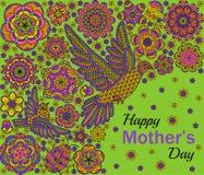 Romantisk bakgrund med blommor, fåglar och nyckelpigan Kortdesign för lycklig moderdag Arkivfoto