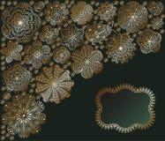 Romantisk bakgrund med blommor och nyckelpigan Blom- kortdesign med stället för din text Modell med vårtema Detaljerad vec Arkivbilder