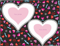 Romantisk bakgrund med hjärtor för foto Arkivbild