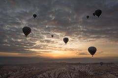 Romantisk ballong för varm luft för resa Arkivfoto