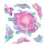 Romantisk beståndsdeluppsättning för blom- design Arkivfoto