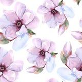 Romantisk blom- modell för sömlös vattenfärg Arkivbild