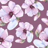 Romantisk blom- modell för sömlös vattenfärg Arkivfoto