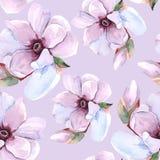 Romantisk blom- modell för sömlös vattenfärg Royaltyfri Fotografi