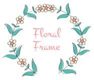 Romantisk blom- rund ram Arkivfoto