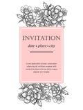 Romantisk botanisk inbjudan royaltyfri illustrationer