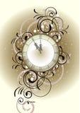 Romantisk design för jul med den antika klockan Arkivfoton