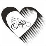 Romantisk designbeståndsdel - hjärta och bokstäver för valentindag Arkivfoto