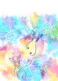 Romantisk färgrik blom- bakgrund med fjärilen Arkivbild