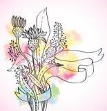 Romantisk färgrik wild blommabakgrund Arkivbild