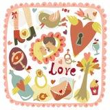 Romantisk förälskelsebakgrund för färgrik tecknad film Arkivfoton