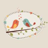 Romantisk förälskelsefågel för valentin dagberöm Arkivbilder