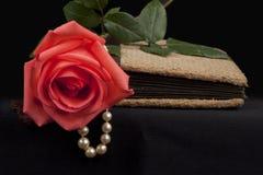 Romantisk gammal dagbok med rosen och pärlan royaltyfri bild