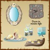 Romantisk garnering med stearinljus i marin- stil stock illustrationer