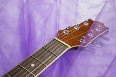 Romantisk gitarr på tyget royaltyfri foto