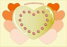 Romantisk guld- hjärta som symboliserar förälskelsen Royaltyfria Bilder