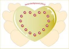 Romantisk guld- hjärta som symboliserar på förälskelsen Arkivfoton