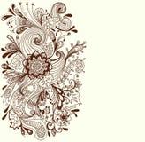 Romantisk hand tecknad blom- bakgrund Royaltyfri Foto