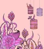 Romantisk hand tecknad blom- kortwirhfågel och bur Arkivfoto