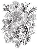 Romantisk hand tecknad blom- prydnad Royaltyfri Bild