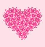 Romantisk hjärta som göras av rosa färger, blommar för Valentine Day royaltyfri illustrationer