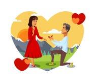 Romantisk illustration för vektor för förbindelseförslag stock illustrationer