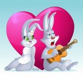 Romantisk illustration med kaniner Arkivfoton