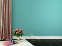 Romantisk inre med den rosa färggardiner och dekoren vektor illustrationer