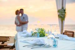 romantisk inställning för matställe Royaltyfri Foto