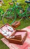 romantisk inställning för picknick Arkivbilder