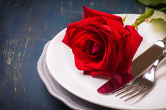 romantisk inställningstabell Arkivfoto