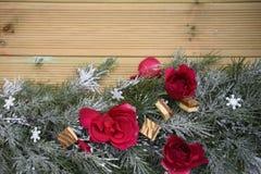 Romantisk julfotografibild med nya röda rosor och lyxiga choklader som läggas på snögirlanden med naturlig wood bakgrund Royaltyfria Foton