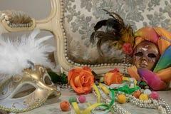Romantisk karneval i venice royaltyfri foto