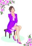 romantisk kvinna royaltyfri illustrationer
