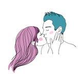 Romantisk kyss som älskar par royaltyfri illustrationer
