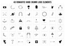 Romantisk logobeståndsdeluppsättning Drog objekt för vektor hand royaltyfri illustrationer