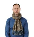 Romantisk man i scarf Arkivbild