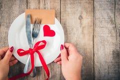 Romantisk matställe Förälskelse Arkivfoto