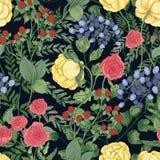 Romantisk naturlig sömlös modell med trädgårds- blomma blommor och blommaörter på svart bakgrund elegantt royaltyfri illustrationer