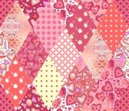 Romantisk patchworkmodell Sömlös bakgrund i rosa signaler Gullig illustration av att vaddera Fotografering för Bildbyråer