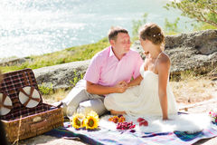 Romantisk picknick Arkivfoto