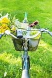 Romantisk picknick - blommor och vin i cykelkorg Royaltyfri Foto