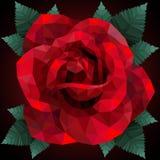 Romantisk röd ros för poly stil för valentindag lågt Fotografering för Bildbyråer
