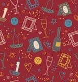 Romantisk retro sömlös bakgrund med fotoramar, stearinljus, hjärtor, stjärnor, bägare och flaskor av vinrankan Ändlösa gulliga mo Royaltyfri Bild