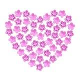 Romantisk rosa färgblommahjärta, 3d Arkivfoton