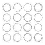 Romantisk samling med hand drog cirkelramar Ställ in för invit Royaltyfri Foto