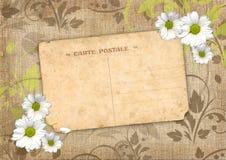 Romantisk scrapbookbakgrund med vykortet Royaltyfri Foto