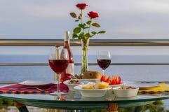 Romantisk sikt med vin Fotografering för Bildbyråer
