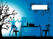 romantisk silhouettetree för dinn Royaltyfri Bild